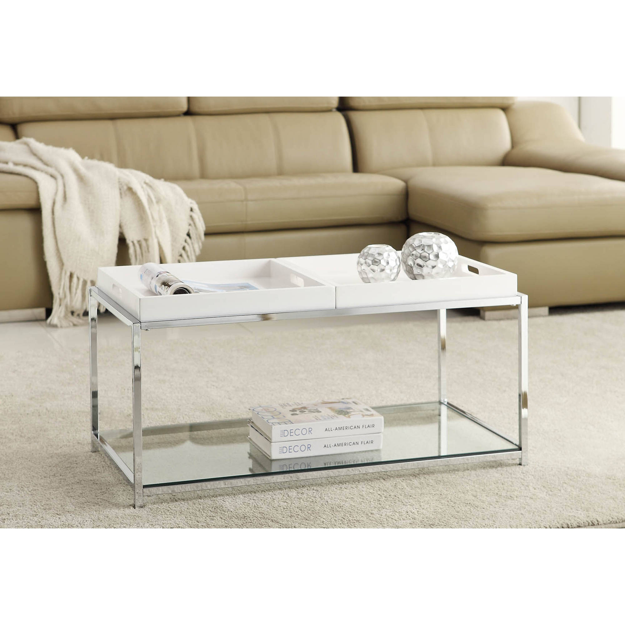 Convenience Concepts Palm Beach Coffee Table with Trays Multiple