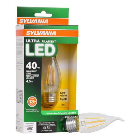 Sylvania Vintage LED Light Bulb, 40W Equivalent, B10 Candelabra Medium - 40w B10 Candelabra Base Bulb