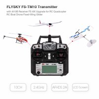 FLYSKY FS-TM10 10CH 2.4GHz AFHDS 2A Remote Controller Transmitter with iA10B Receiver FS i6X Upgrade for FPV Racing Drone RC Quadcopter Airplane 450 Helicopter