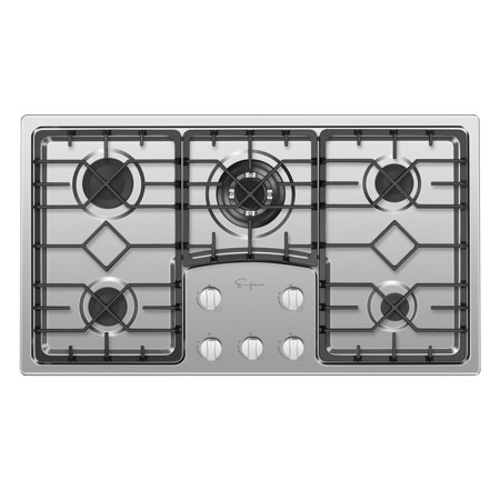 """Empava 36"""" Gas Stove Cooktop with 5 Italy Sabaf Sealed Burners NG/LPG Convertible in Stainless Steel"""