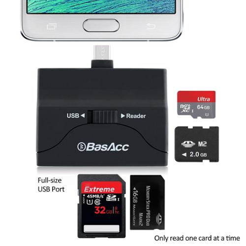 BasAcc OTG Card Reader Support USB Flash Drive Micro SD For Samsung Galaxy S6 Edge S5 Note 4 3 Android Phone Tablet Tab