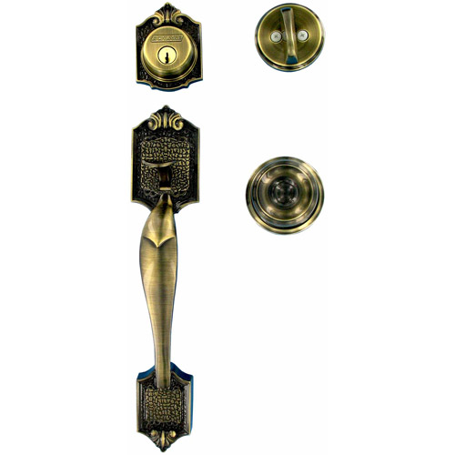 Schlage F60VPAR609GEO Antique Brass Parthenon Front Entry Handleset with Georgian Knob