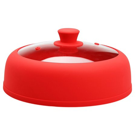 Bezrat Microwave Plate Cover 10.5 Inch Dia 3.25 Inch Height For Food Glass Vented Red Plate Cover With Special Safe and Easy Grip Silicone Handle ()