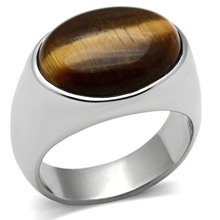Stainless Steel Brown Oval Tiger Eye Mens Ring-Sizes 8-13 Father