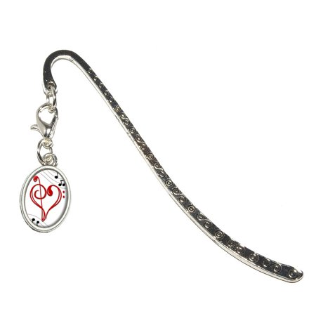 Music Heart - Love Treble Bass Clef Notes Staff Oval Charm Metal Bookmark