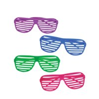 80's Neon Shutter Shade Toy Sunglasses 12 Pack Party Favors Costume Accessory