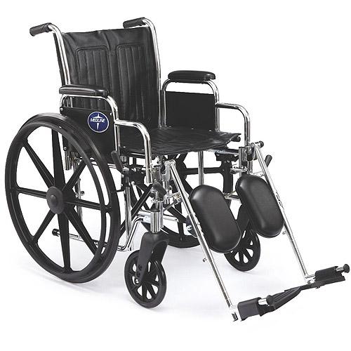"Medline Extra Wide 20"" Wheelchair, Elevating Legs, Desk Length Arms"