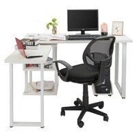 FCH L-Shaped Computer Desk 360°Free Rotating Corner Computer Desk Writing Table with Storage Shelves White