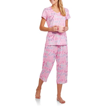 Secret Treasures Women's V-Neck Pajama Tee and Capri Sleep Pants 2-Piece Sleepwear Set