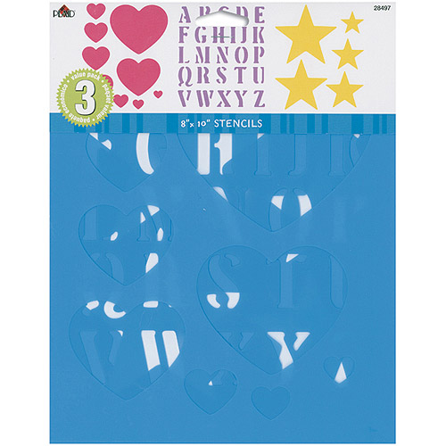 Simply Stencils Value Pack, 3-Pack, Hearts/Alphabet/Stars