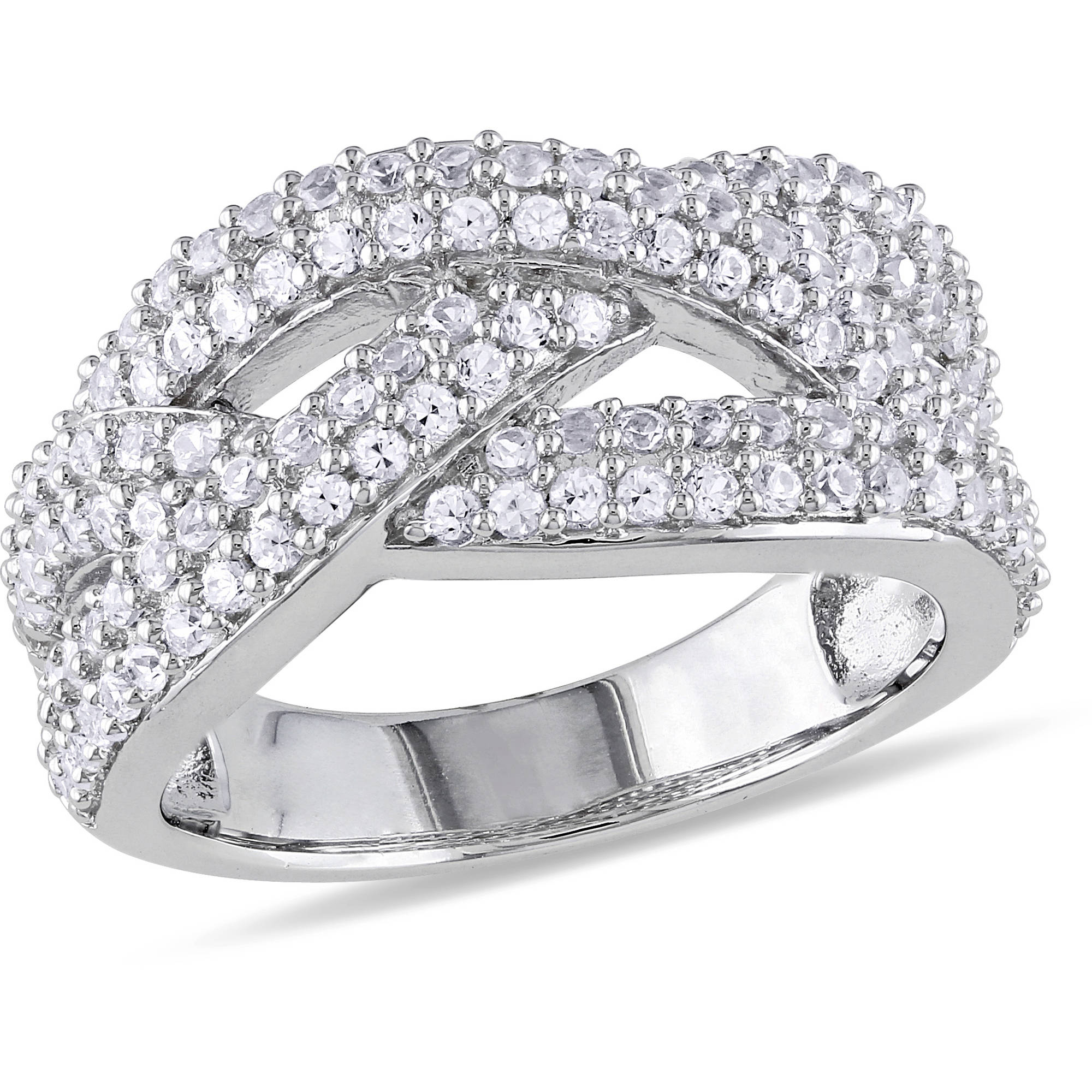 Miabella 1-1/4 Carat T.G.W. White Sapphire Sterling Silver Cross-Over Ring