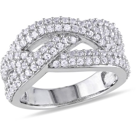 Miabella 1-1/4 CT T.G.W. Created White Sapphire Sterling Silver Cross-Over Ring Tacori Sapphire Ring