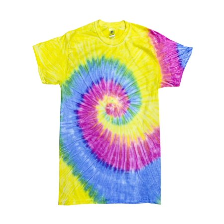 Tie Dye T-Shirts Rainbow Multi-color Adult Colortone