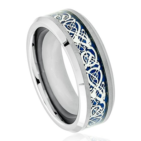 8mm Tungsten Carbide Celtic Knot Dragon over Blue Carbon Fiber Inlay Wedding Band Ring For Men Or Ladies