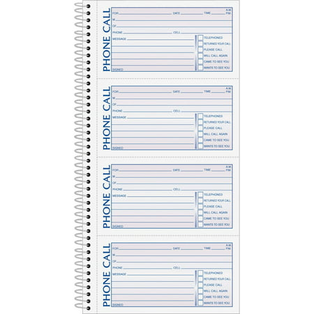 TOPS, TOP4003, Carbonless Phone Message Book, 1 / Each, White - Line Phone Memo Message Book