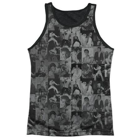 Elvis Presley King of Rock 1950's Icon Collage Adult Black Back Tank Top Shirt