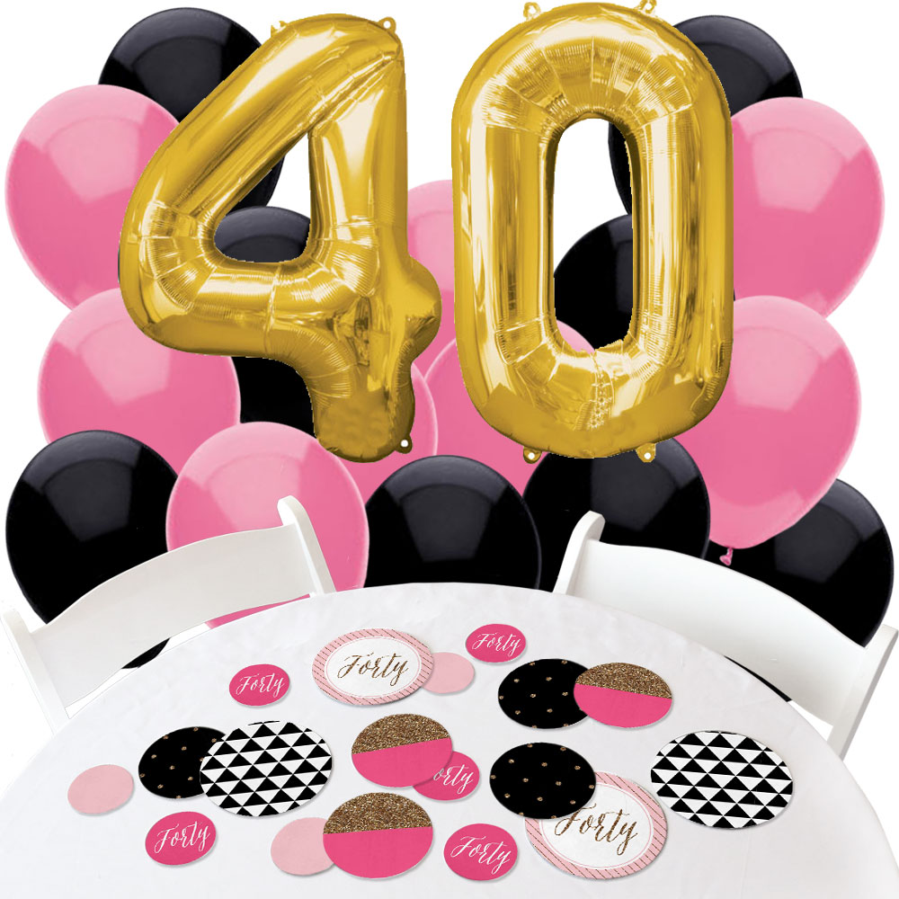 Chic 40th Birthday - Confetti and Balloon Birthday Party Decorations - Combo Kit