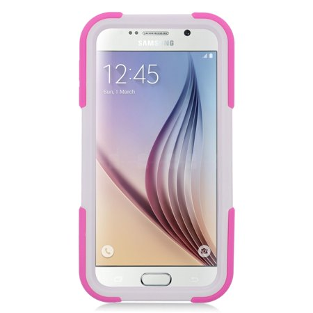 Insten Soft Hybrid Rubber Hard Case with Stand For Samsung Galaxy S6 - Hot Pink/White - image 2 de 4