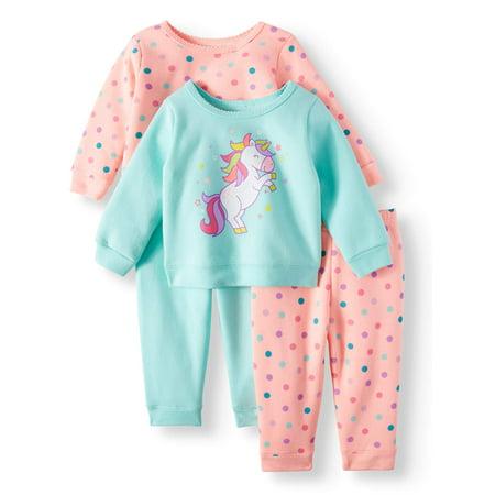 Sweatshirts & Jogger Pants, 4pc Outfit Set (Baby Girls)