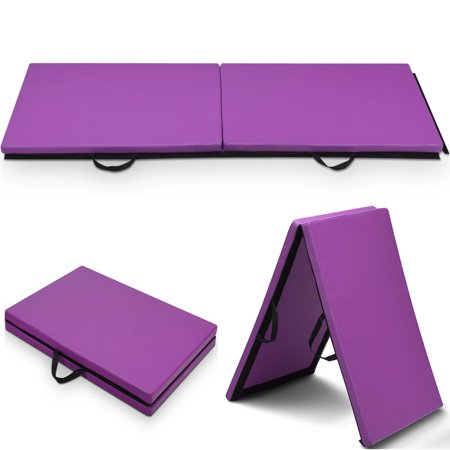 Costway 6'x 2'Gymnastics Mat Thick Two Folding Panel Gym Fitness Exercise (Best Exercise Mats)
