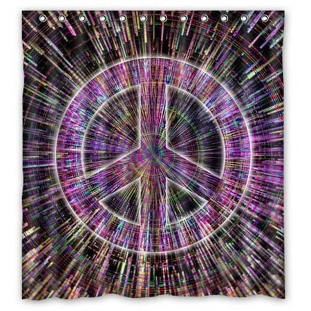 DEYOU Colorful Tie Dye Trippy Peace Sign Galaxy Art Design Shower ...