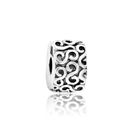 Sterling Silver S Clip Charm, -