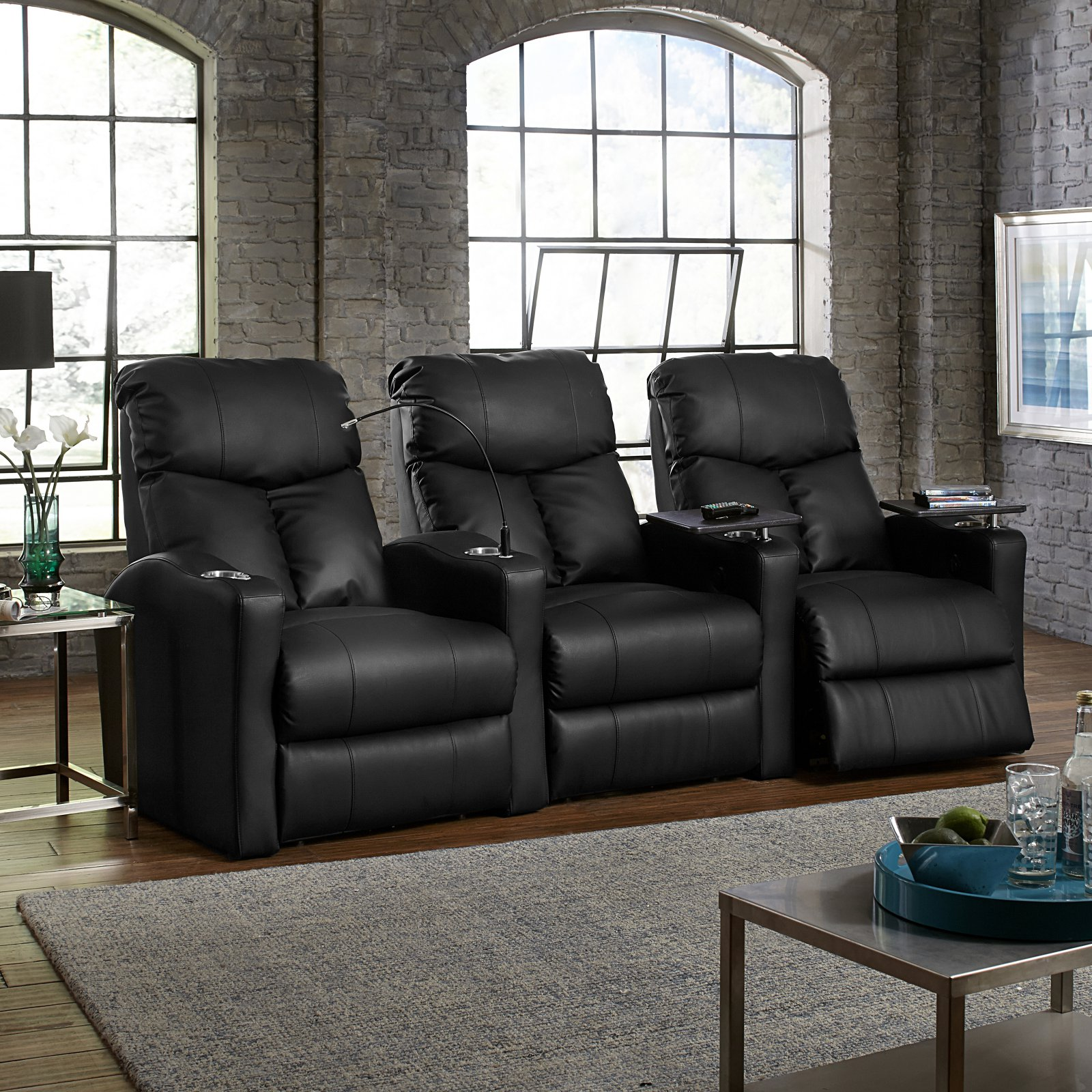 Octane Bolt XS400 3 Seater Manual Recline Bonded Leather Home Theater Seating