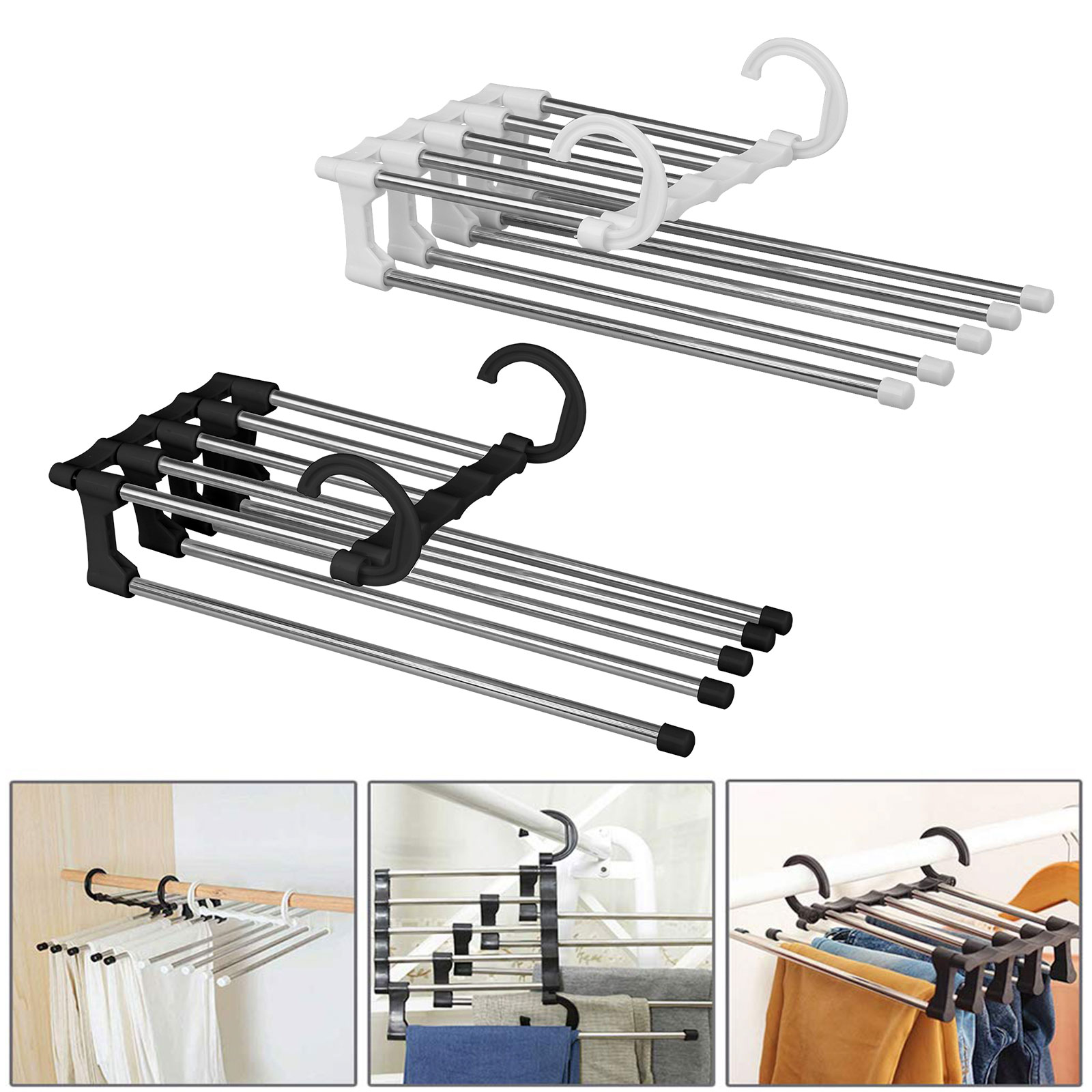 5 Layer Clothes Hanger Laundry Space Saving Rack Ties Scarf Trouser Organizers