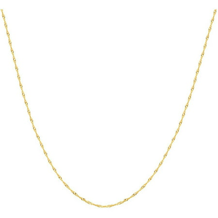 A&M 14k Yellow Gold Solid Singapore Chain Necklace, 16