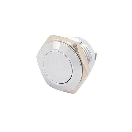 AC250V 3A 16mm Thread Dia Flat Cap Waterproof Metal Momentary Push Button Switch