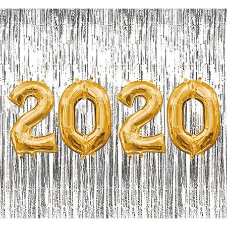 PMU New Year's 2020 Gold Balloons with Silver Curtain ...