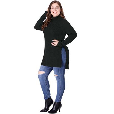 Unique Bargains Women's Plus Size Turtleneck Tunic Sweater Black (Size 2X)