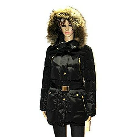michael kors women 39 s faux fur belted down coat winter puffer jacket black. Black Bedroom Furniture Sets. Home Design Ideas
