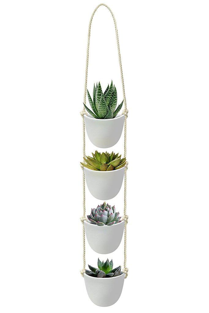 Ceramic Hanging Succulent Planter Modern Wall Decor White Vase With Rope Hanger 4 Piece Set Decorative Pots For Indoor Plants Cactus Flower For Home Bedroom Kitchen Walmart Com Walmart Com