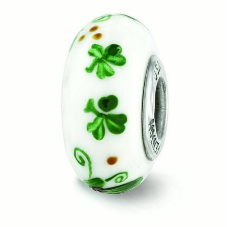 Lex & Lu Sterling Silver Reflections Green Hand Painted Irish Fenton Glass Bead