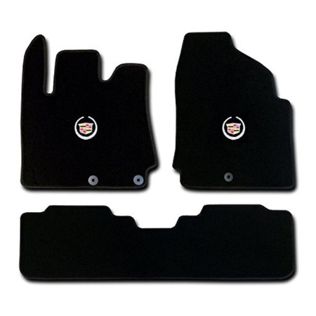 cadillac srx 3 pc (2 fronts / rear runner) black custom fit carpet floor mat set with cadillac crest logo on fronts - fits 2010 11 12 13 14 15 - Custom Floor Runners