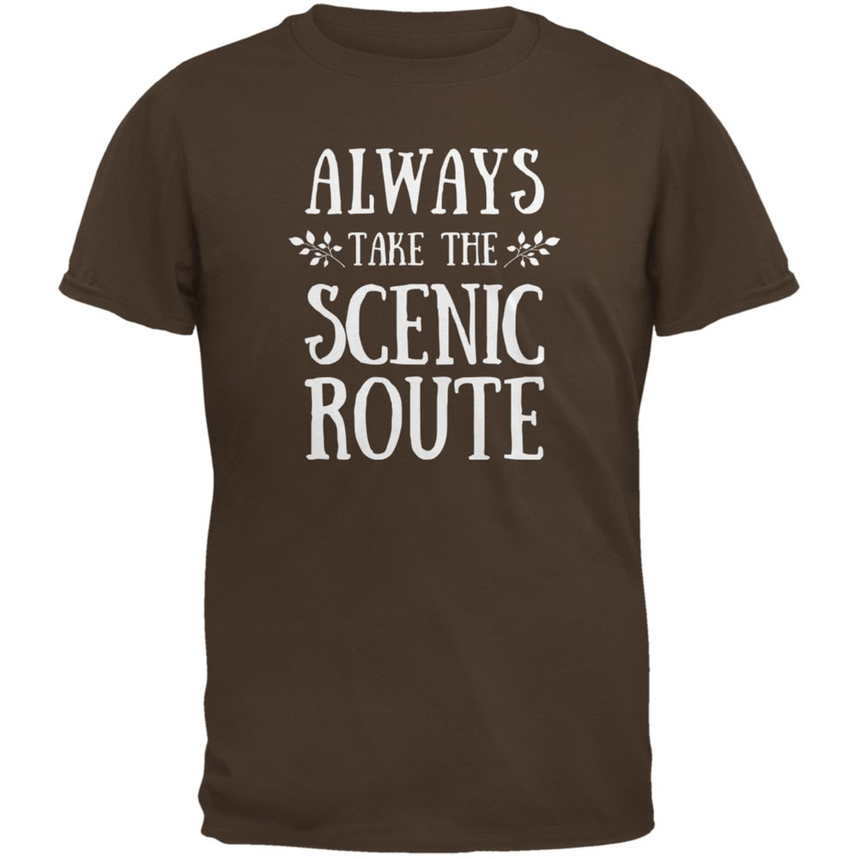 Hiking Always Take the Scenic Route Brown Youth T-Shirt