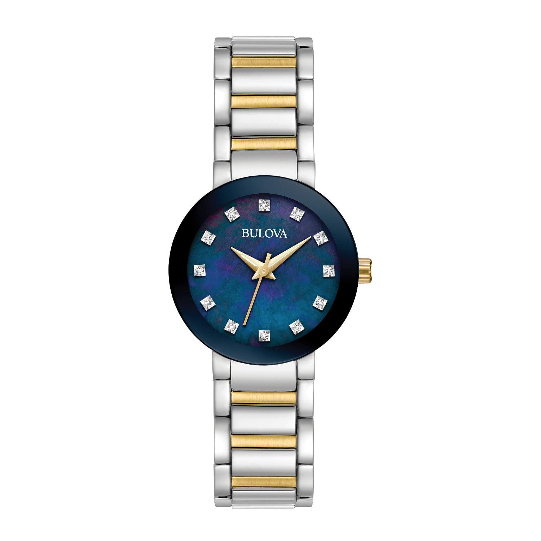 98P157 Women's Diamonds Blue MOP Dial Two Tone Steel Watch