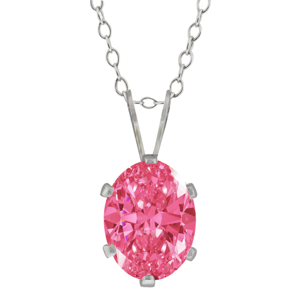 1.21 Ct Fancy Pink 925 Sterling Silver Pendant Made With Swarovski Zirconia