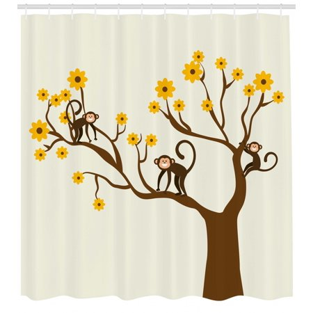 Funny Shower Curtain Cute Monkey Animations Fun Chimpanzees Climbing On Daisy Trees Animal Life Figure