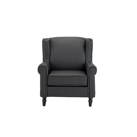 Vintage Inspired Black Faux Leather Armchair With Wooden Legs