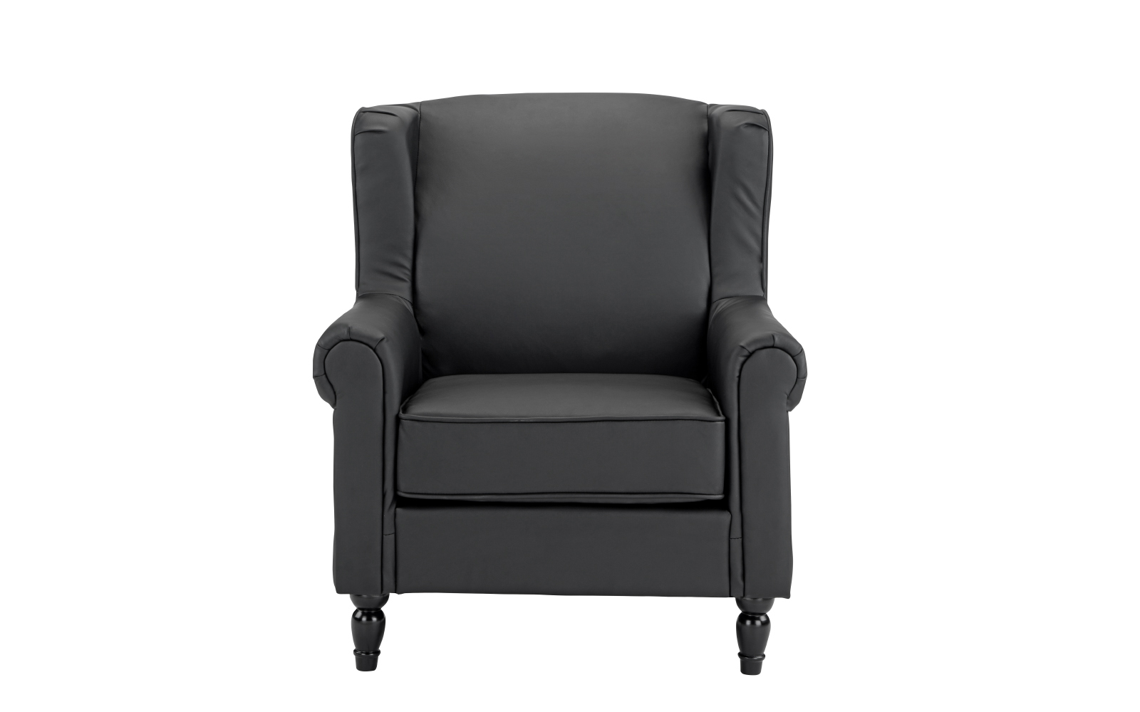 Ordinaire Vintage Inspired Black Faux Leather Armchair With Wooden Legs