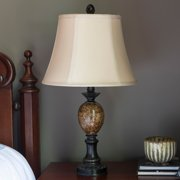 Decor Therapy Huntington Bronze Table Lamp with Faux Marble Accent