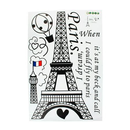 Home Decor amovible Designable PVC Noir DIY Sticker mural Motif Tour Eiffel Blanc 60 x 90 cm - image 2 de 8