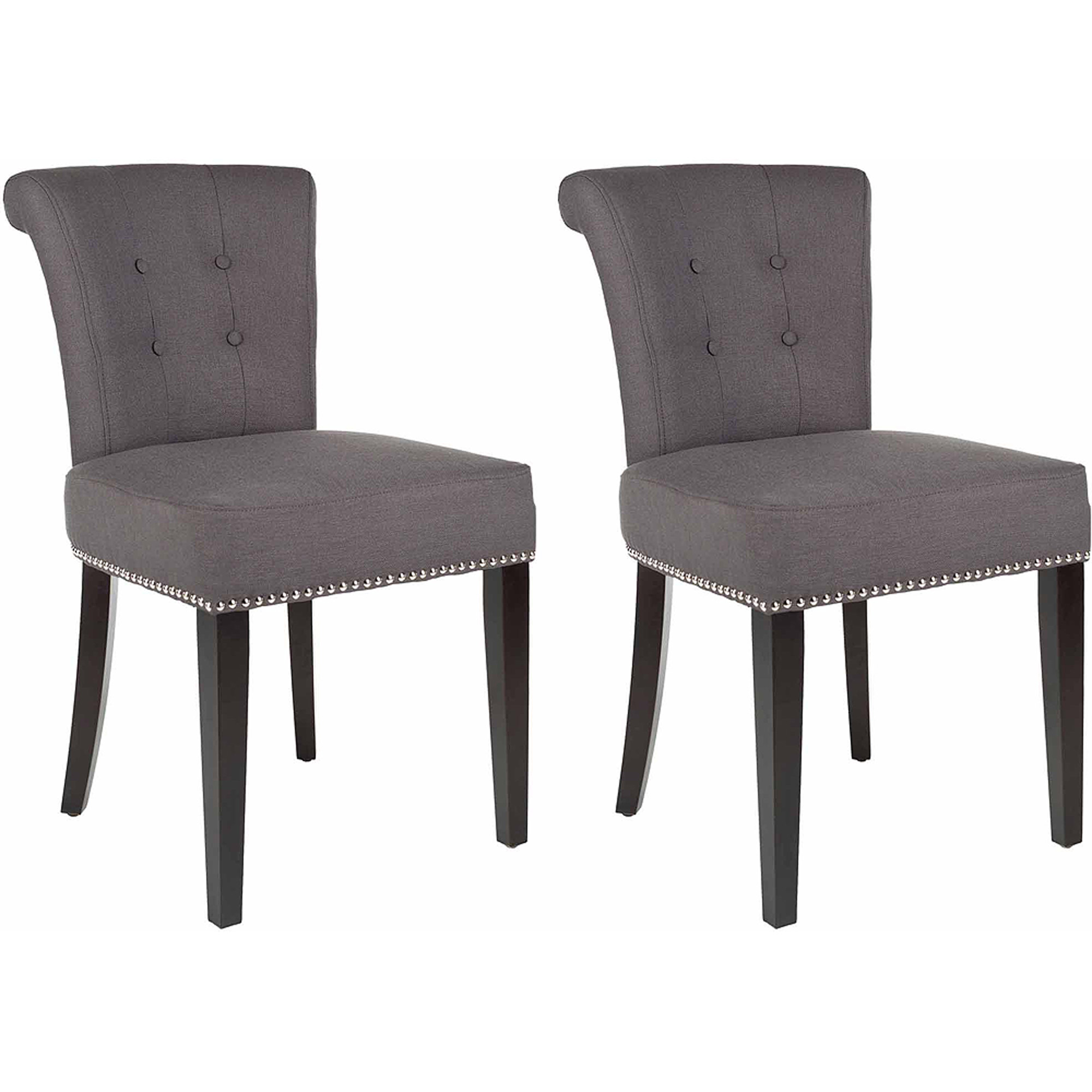 "Safavieh Sinclair 21""H Ring Chair Set 2 Silver Nail Heads"