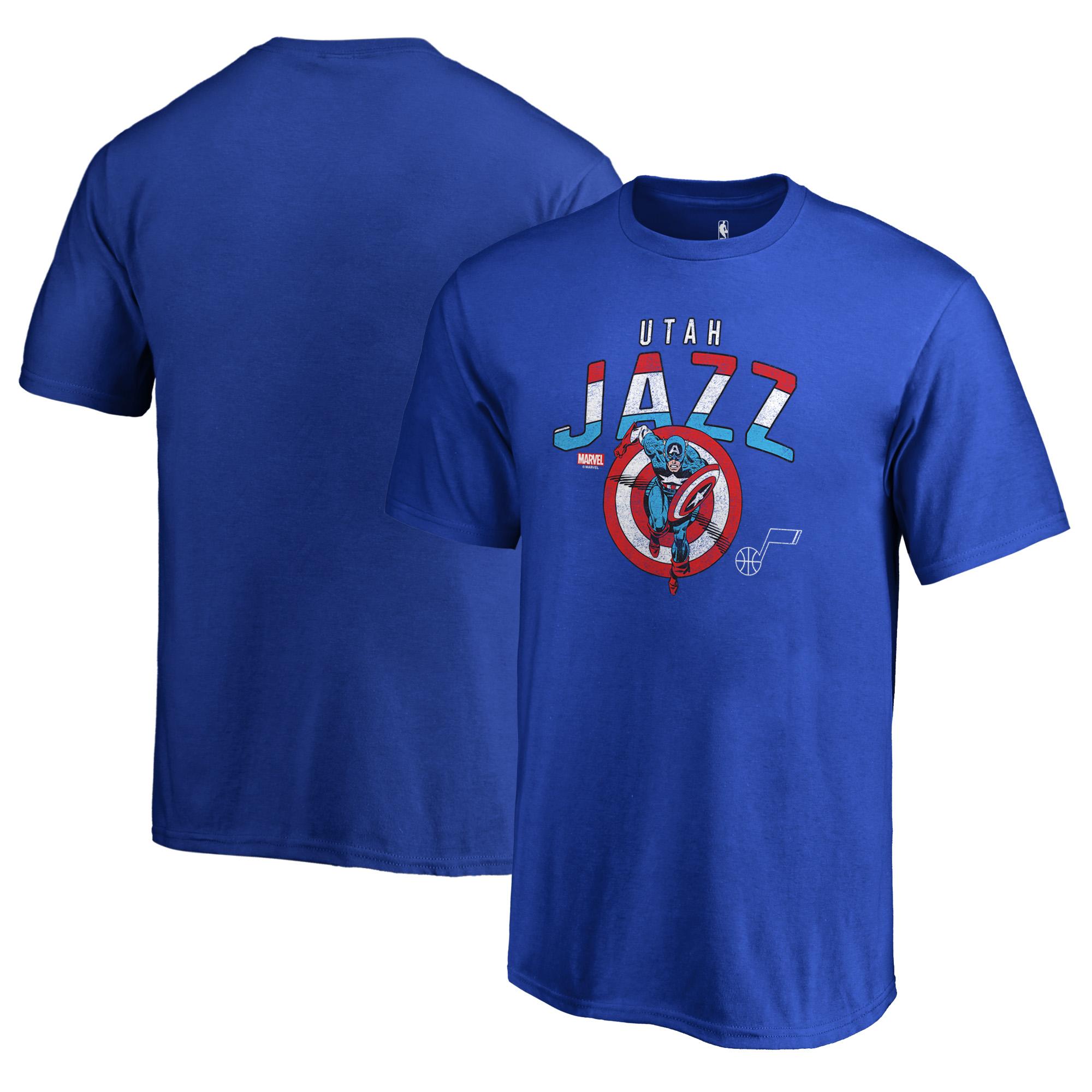Utah Jazz Fanatics Branded Youth Captain's Shield T-Shirt - Royal
