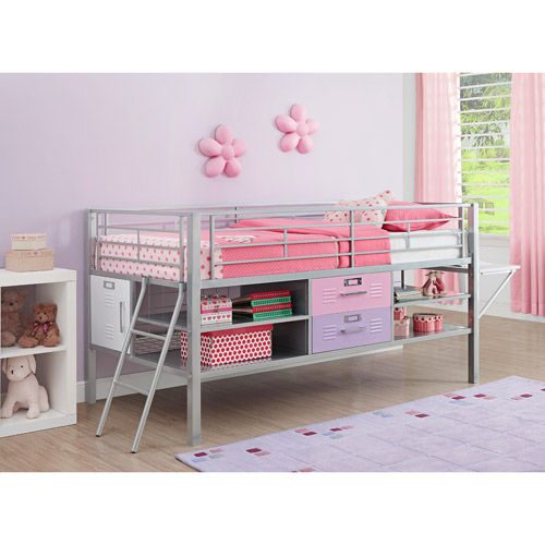 Junior Twin Locker Loft Bed with Shelves and Storage, Pink/Purple
