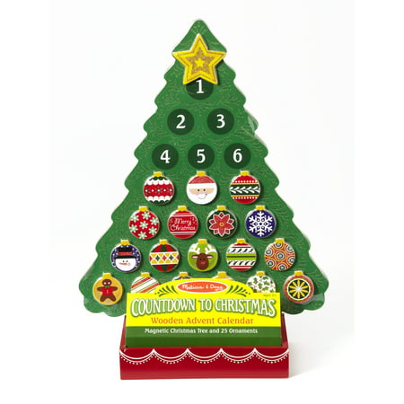 Melissa & Doug Countdown to Christmas Wooden Advent Calendar - Magnetic Tree, 25 Magnets (Christmas Day Countdown)
