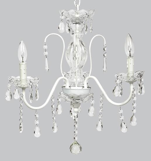3- Light Jewel Glass Center Chandelier in White