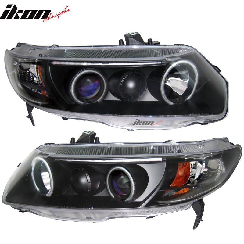 Fits 06-07 Civic 2Dr Dual CCFL Halo Projector Headlights Black